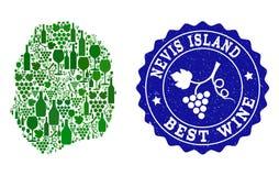 Κολάζ του χάρτη κρασιού σταφυλιών του νησιού Nevis και του καλύτερου γραμματοσήμου Grunge κρασιού απεικόνιση αποθεμάτων