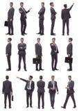 Κολάζ των φωτογραφιών ενός επιτυχούς επιχειρηματία Απομονωμένος στο λευκό στοκ φωτογραφίες