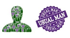Κολάζ Persona γόνου των μπουκαλιών κρασιού και του σταφυλιού και του γραμματοσήμου Grunge ελεύθερη απεικόνιση δικαιώματος