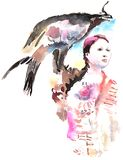 Κορίτσι με έναν χρυσό αετό διανυσματική απεικόνιση