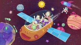 Κοσμική διαστημική φανταστική συρμένη χέρι απεικόνιση ταξιδιών απεικόνιση αποθεμάτων