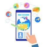 Κράτηση των εισιτηρίων πτήσης με το κινητό App επίπεδο διάνυσμα απεικόνιση αποθεμάτων