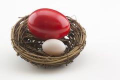 Κρίση χρέους που βλέπει στα διαφορετικά αυγά φωλιών μεγέθους στοκ εικόνα με δικαίωμα ελεύθερης χρήσης