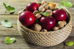 Κόκκινα ώριμα μήλα και καρύδια σε ένα καλάθι σε ένα υπόβαθρο 2 δέντρων στοκ εικόνα με δικαίωμα ελεύθερης χρήσης