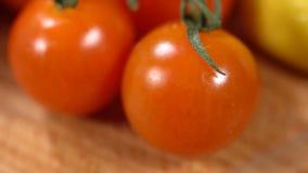 Κόκκινες ντομάτες στον πίνακα απόθεμα βίντεο
