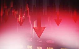 Κόκκινο βέλος τιμών κρίσης αποθεμάτων κάτω από την ανάλυση ανταλλαγής χρηματιστηρίου πτώσης διαγραμμάτων της γραφικής παράστασης  απεικόνιση αποθεμάτων