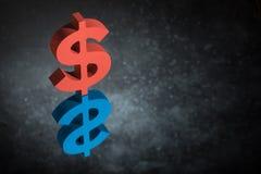 Κόκκινο και μπλε σύμβολο ή σημάδι αμερικανικού νομίσματος με την αντανάκλαση καθρεφτών στο σκοτεινό σκονισμένο υπόβαθρο στοκ εικόνα