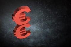 Κόκκινο σύμβολο ή σημάδι νομίσματος της ΕΕ με την αντανάκλαση καθρεφτών στο σκοτεινό σκονισμένο υπόβαθρο απεικόνιση αποθεμάτων