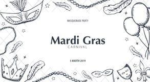 Κόμμα καρναβαλιού gras της Mardi μεταμφίεση Παχιά Τρίτη, φεστιβάλ επίσης corel σύρετε το διάνυσμα απεικόνισης ελεύθερη απεικόνιση δικαιώματος