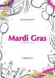 Κόμμα καρναβαλιού gras της Mardi μεταμφίεση Παχιά Τρίτη, φεστιβάλ επίσης corel σύρετε το διάνυσμα απεικόνισης απεικόνιση αποθεμάτων