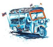 Κτύπημα βουρτσών τέχνης ζωγραφικής ταξί Tuk tuk το ταϊλανδικό έχει την πορεία ψαλιδίσματος στοκ εικόνες