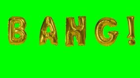 Κτύπημα λέξης από τις χρυσές επιστολές μπαλονιών ηλίου που επιπλέουν στην πράσινη οθόνη - απόθεμα βίντεο