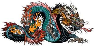 Κυανός κινεζικός δράκος που απομονώνεται στο λευκό διανυσματική απεικόνιση