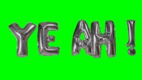 Λέξη ναι από τις ασημένιες επιστολές μπαλονιών ηλίου που επιπλέουν στην πράσινη οθόνη - απόθεμα βίντεο