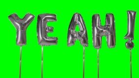 Λέξη ναι από τις ασημένιες επιστολές μπαλονιών ηλίου που επιπλέουν στην πράσινη οθόνη - φιλμ μικρού μήκους