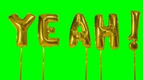 Λέξη ναι από τις χρυσές επιστολές μπαλονιών ηλίου που επιπλέουν στην πράσινη οθόνη - φιλμ μικρού μήκους