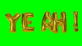 Λέξη ναι από τις χρυσές επιστολές μπαλονιών ηλίου που επιπλέουν στην πράσινη οθόνη - απόθεμα βίντεο