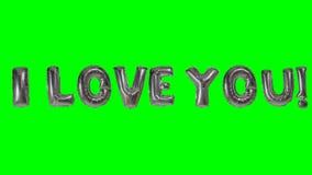 Λέξη σ' αγαπώ από τις ασημένιες επιστολές μπαλονιών ηλίου που επιπλέουν στην πράσινη οθόνη - απόθεμα βίντεο