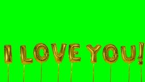 Λέξη σ' αγαπώ από τις χρυσές επιστολές μπαλονιών ηλίου που επιπλέουν στην πράσινη οθόνη - φιλμ μικρού μήκους