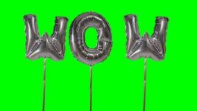 Λέξη wow από τις ασημένιες επιστολές μπαλονιών ηλίου που επιπλέουν στην πράσινη οθόνη - απόθεμα βίντεο