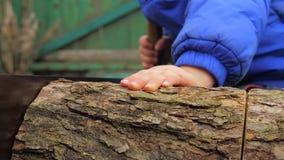 Λίγος πριονιστής Τέμνον ξύλο αγοριών με το δύο ανθρώπων πριόνι Πριονίζοντας κούτσουρο με το πρακτικό πριόνι Το παιδί βοηθά την οι φιλμ μικρού μήκους