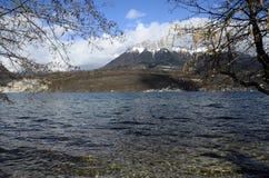 Λίμνη του Annecy και χιονισμένα βουνά, χειμερινό τοπίο στο κραμπολάχανο στοκ εικόνα με δικαίωμα ελεύθερης χρήσης