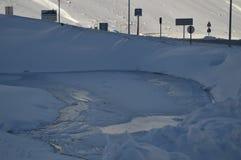 Λίμνη πάγου της Νίκαιας στην Κρήτη Bataillence σε Aragnouet Φύση, ταξίδι, τοπία 29 Δεκεμβρίου 2014 Aragnouet, μεσημβρία-Πυρηναία, στοκ εικόνες