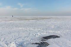 Λειώνοντας πάγος στη δεξαμενή Ob, Σιβηρία, Ρωσία στοκ εικόνα με δικαίωμα ελεύθερης χρήσης