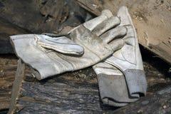 Λειτουργώντας γάντια δέρματος σε έναν σωρό των κολοβωμάτων στοκ εικόνα