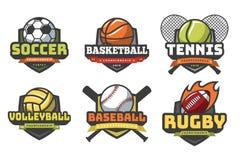 Λογότυπα αθλητικών σφαιρών Εμβλήματα λεσχών ομάδων διακριτικών μπέιζ-μπώλ αντισφαίρισης ράγκμπι ποδοσφαίρου πετοσφαίρισης καλαθοσ διανυσματική απεικόνιση