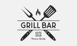Λογότυπο εστιατορίων φραγμών σχαρών Δίκρανο και Spatula σχαρών Εκλεκτής ποιότητας BBQ έμβλημα Πρότυπο επίσης corel σύρετε το διάν διανυσματική απεικόνιση