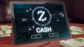 Λογότυπο cryptocurrency Zcash στην επίδειξη ταμπλετών PC τρισδιάστατη απεικόνιση στοκ φωτογραφίες