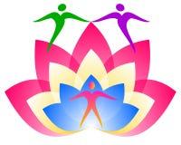 Λογότυπο Lotus Λουλούδι ατόμων διανυσματική απεικόνιση