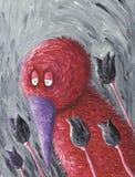 Λυπημένο κόκκινο πουλί με το πορφυρές ράμφος και τις τουλίπες στοκ φωτογραφίες