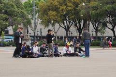 Μάθημα σχεδίων στην πλατεία της Καταλωνίας στοκ φωτογραφία με δικαίωμα ελεύθερης χρήσης