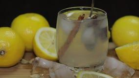 Μίγμα με ένα κοκτέιλ λεμονιών κουταλιών Αναζωογονώντας οινοπνευματώδες ποτό κοκτέιλ απόθεμα βίντεο
