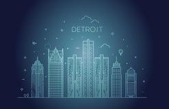 Μίτσιγκαν, Ντιτρόιτ διάνυσμα οριζόντων σχεδίου πόλεων ανασκόπησής σας Αρχιτεκτονική, κτήρια, τοπίο, πανόραμα, ορόσημα, εικονίδια στοκ φωτογραφία με δικαίωμα ελεύθερης χρήσης