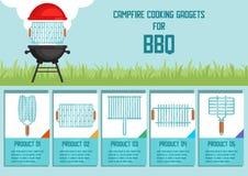 Μαγειρεύοντας συσκευές πυρών προσκόπων για BBQ το διανυσματικό έμβλημα απεικόνιση αποθεμάτων