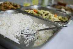 Μαγειρευμένο άσπρο ρύζι με τα τρόφιμα κομμάτων στοκ εικόνες