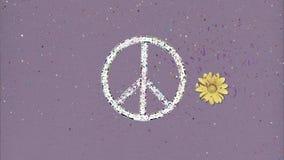 Μακρύ χέρι που συγκεντρώνει ένα αναδρομικό ύφος διακοπής συμβόλων ειρήνης απεικόνιση αποθεμάτων