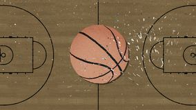 Μακρύ χέρι που συγκεντρώνει ένα αναδρομικό ύφος διακοπής καλαθοσφαίρισης με το κομφετί απεικόνιση αποθεμάτων