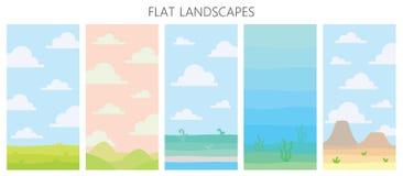 Μαλακά τοπία φύσης Έρημος με τα βουνά, πράσινος θερινός τομέας, ακτή με τις εγκαταστάσεις, υποβρύχια άποψη με το φύκι ελεύθερη απεικόνιση δικαιώματος
