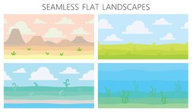 Μαλακά τοπία φύσης Έρημος με τα βουνά, πράσινος θερινός τομέας, ακτή, εγκαταστάσεις, υποβρύχια άποψη με το φύκι διάνυσμα ελεύθερη απεικόνιση δικαιώματος