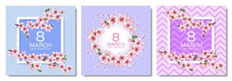 8 Μαρτίου διανυσματικές κάρτες ημέρας των ευτυχών γυναικών καθορισμένες απεικόνιση αποθεμάτων