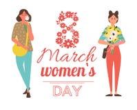 8 Μαρτίου χαιρετώντας διάνυσμα αφισών, λουλούδια λαβής γυναικών ελεύθερη απεικόνιση δικαιώματος