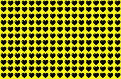 Μαύρη μορφή καρδιών στο κίτρινο υπόβαθρο Σχέδιο σημείων καρδιών Μπορέστε να χρησιμοποιηθείτε για το σκοπό απεικόνισης, υπόβαθρο,  διανυσματική απεικόνιση