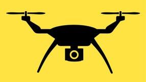 Μαύρο εικονίδιο κηφήνων με τη κάμερα - διανυσματικό εικονίδιο στο Μαύρο και κίτρινος ελεύθερη απεικόνιση δικαιώματος
