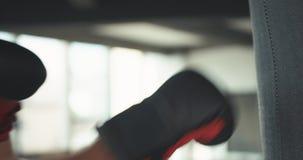 Μαχητής που ασκεί μερικά λακτίσματα με Punching την τσάντα απόθεμα βίντεο