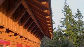 Μείωση νερού βροχής από τη στέγη, ξύλινο σπίτι φιλμ μικρού μήκους