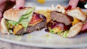 Μεγάλα και νόστιμα cheeseburger σπασίματα στο μισό απόθεμα βίντεο